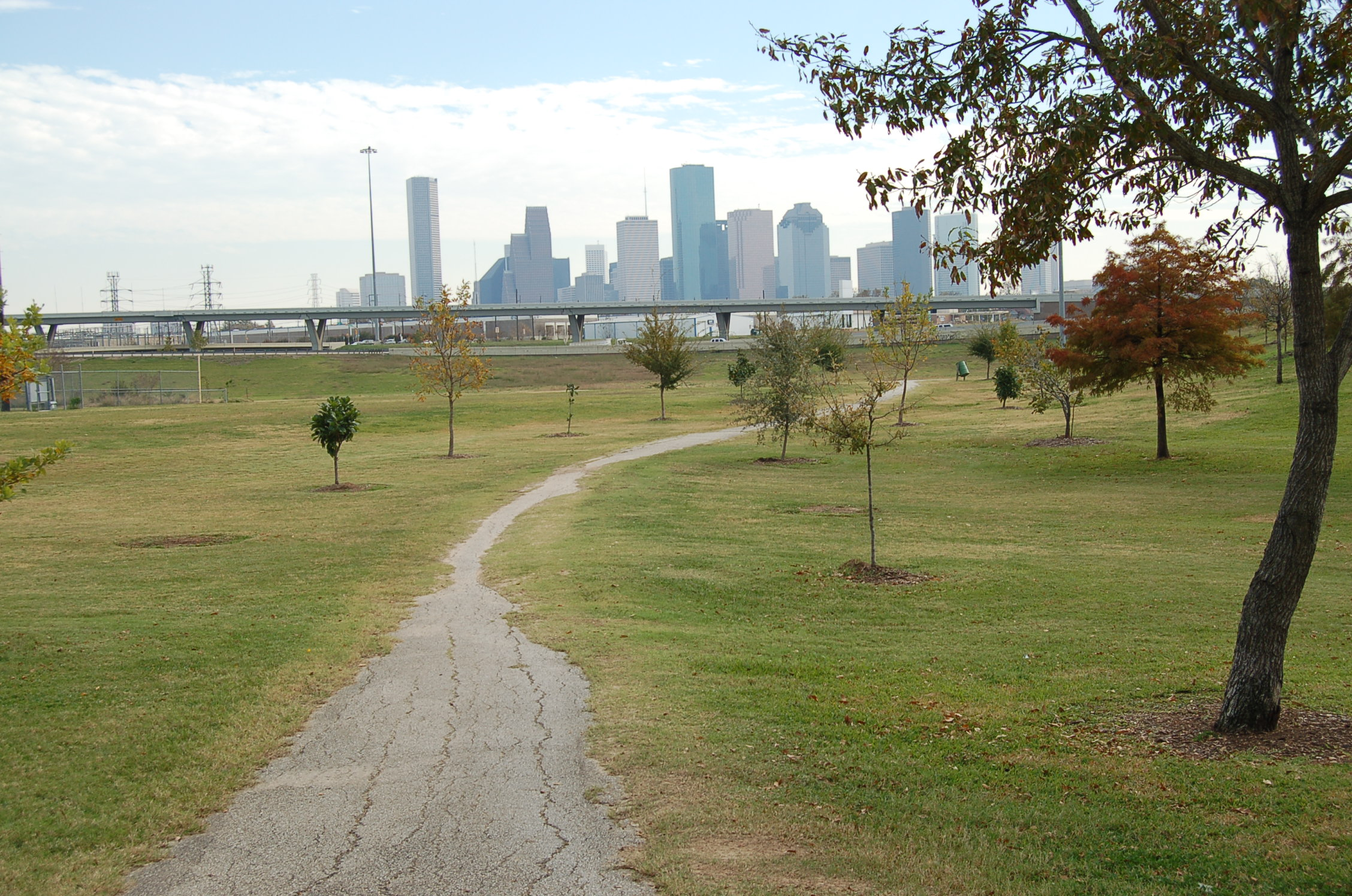 A view of the downtown Houston skyline from the White Oak Bayou Greenway Trail